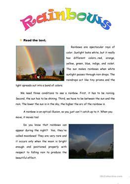 esl rainbow worksheets