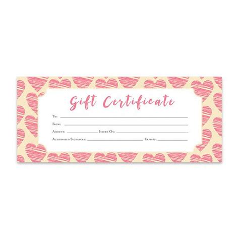 heart hearts pink hearts gift certificate