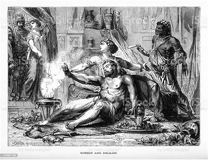 Samson Delilah Biblical Engraving Illustration Vector Istock