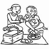 Coloring Eating Picnic Lunch Girlfriend Drawing Netart Getdrawings sketch template