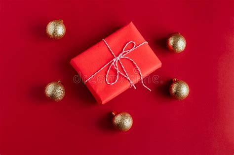 red christmas balls  gift box stock image image