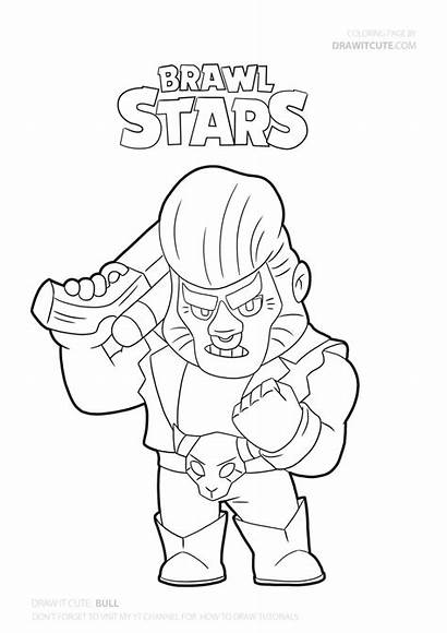 Brawl Coloring Stars Draw Bull Pages Drawing