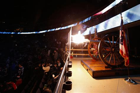 cannon fire  fans players jump  nationwide arena