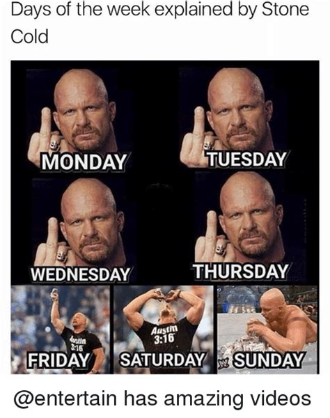 Meme Of The Week - days of the week explained by stone cold monday tuesday wednesday thursday austm 316 ustin