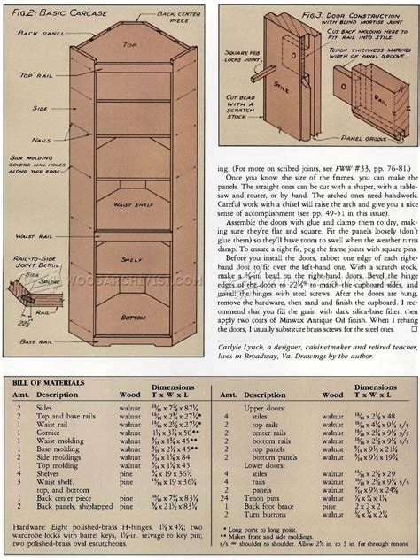 Corner Cupboard Plans by Corner Cupboard Plans Woodarchivist