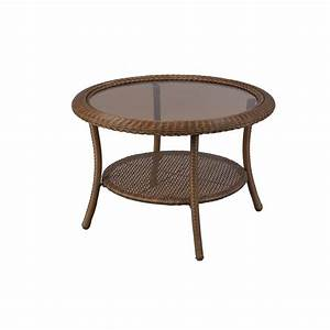 hampton bay spring haven 30 in brown all weather wicker With patio chairs and coffee table