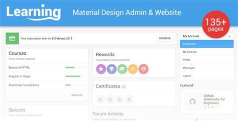 Admin Home Page Templates by Learning App Learning Management System Template By