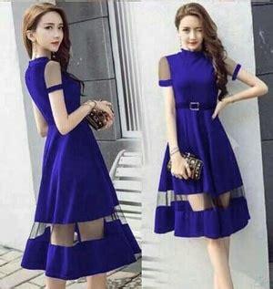 model baju dress pesta pendek kombinasi tile fashion