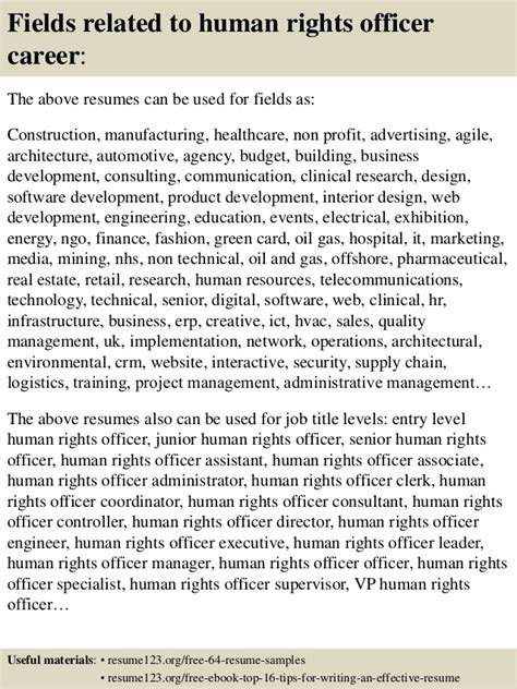 To Right A Resume by Top 8 Human Rights Officer Resume Sles
