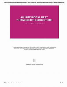 Acurite Digital Meat Thermometer Instructions By 50mb287