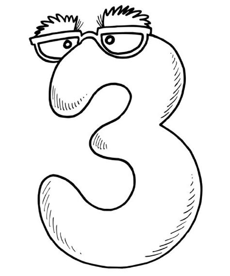 Coloring Number 3 by Free Printable Math Coloring Pages For Best