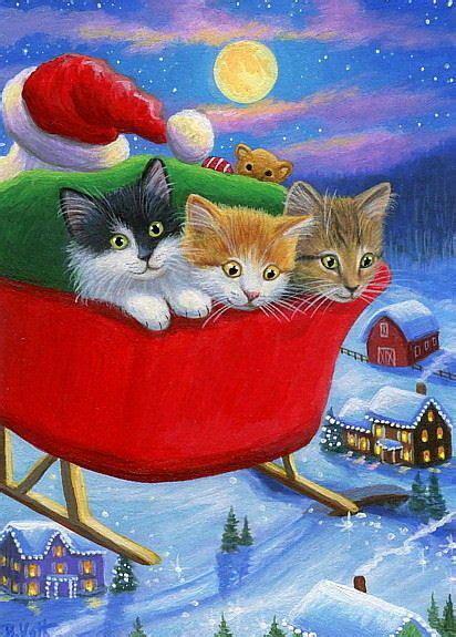 kittens cats santas sleigh moon houses christmas original