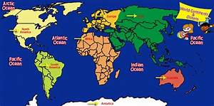 World Map Of Oceans   Laminatoff