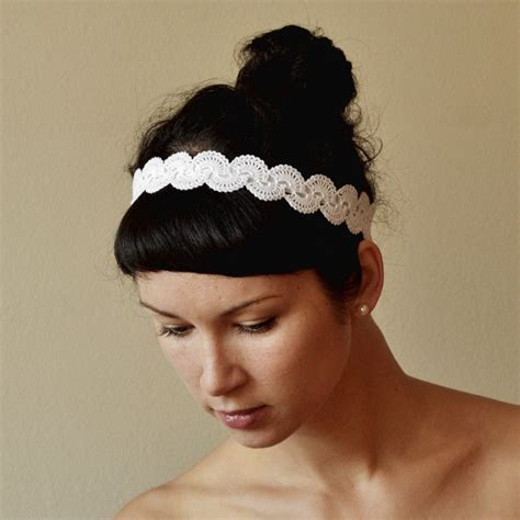 crochet hair band items similar to bridal hair band wedding hair accessory