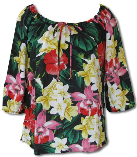 womens hawaiian shirts blouses hawaiian peasant blouse black blouse