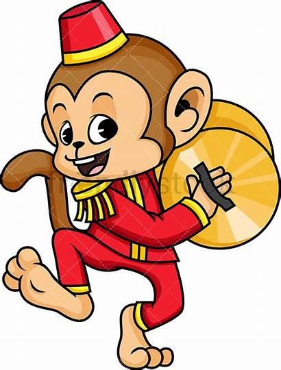 Circus Monkey Cymbals Cartoon Clipart Animals Vector
