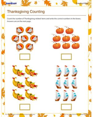 thanksgiving counting printable counting worksheet