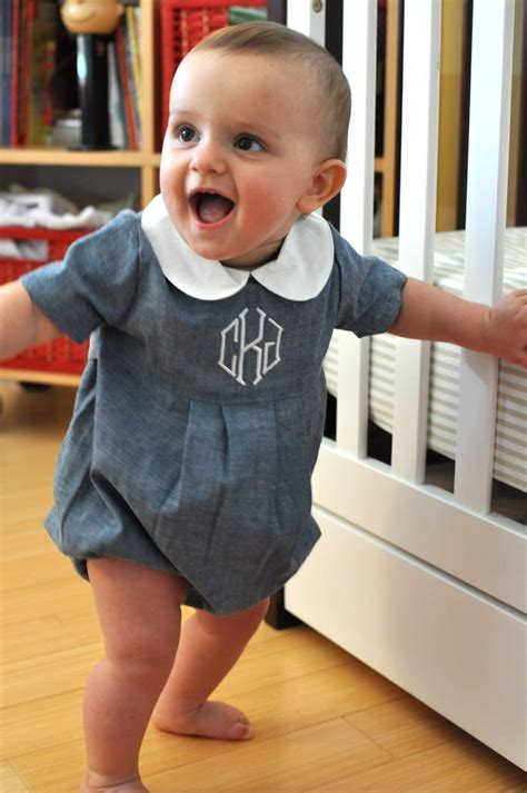Boys Chambray Bubble with Monogram | Mongram Everything | Pinterest | Chambray Monograms and Babies