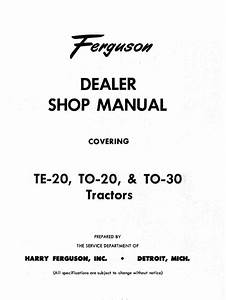 Ferguson To30 Service Manual For Tractor