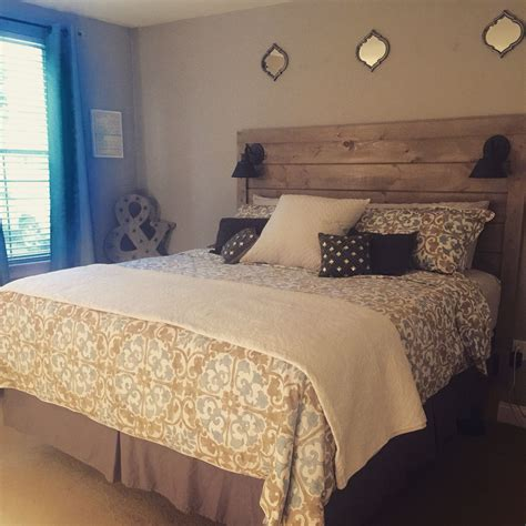 Bedroom Ideas With Headboard by Diy Shiplap Headboard With Lights I Made It Bedroom