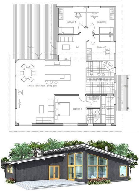 Building A Modern House On A Budget Modern House Plan With High Ceilings Three Bedrooms And