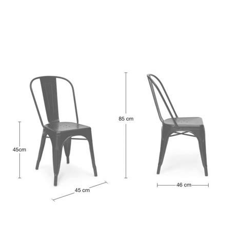 mmilo xavier tolix style black metal dining chairs
