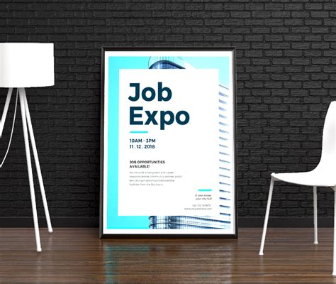 creative blue  hiring event poster idea venngage