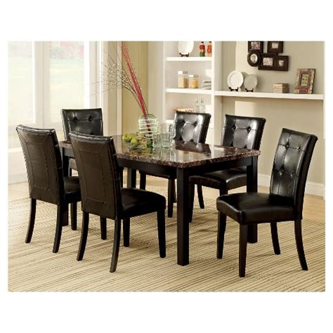 7 piece faux marble dining table set wood black