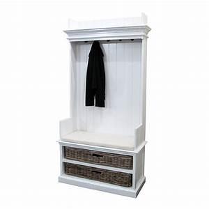 Meuble D Entrée Vestiaire : vestiaire blanc en bois massif torini meuble d 39 entr e ~ Teatrodelosmanantiales.com Idées de Décoration