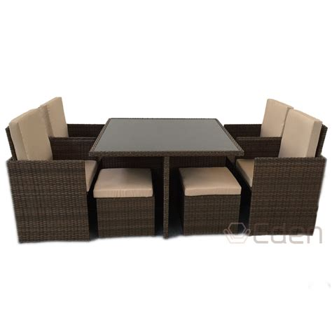 8 seater glass dining table 8 seater 9 piece brown rattan cube dining glass table