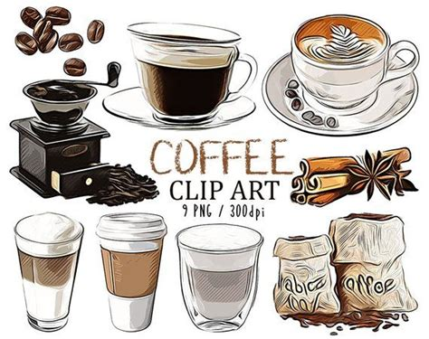 coffee cup clipart set coffee shop cafe  pastries