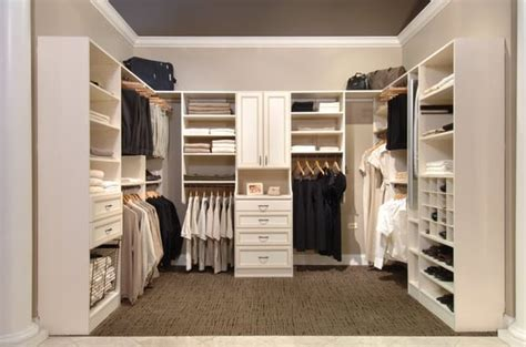 bisque walk in closet with glazed finish on drawers yelp