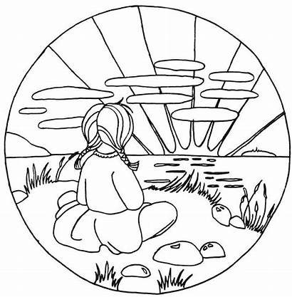 Sunset Coloring Pages Ocean Drawing Yoga Printable