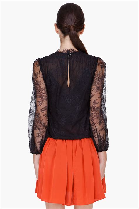 frilled trim blouse lyst black lace shauna blouse in black