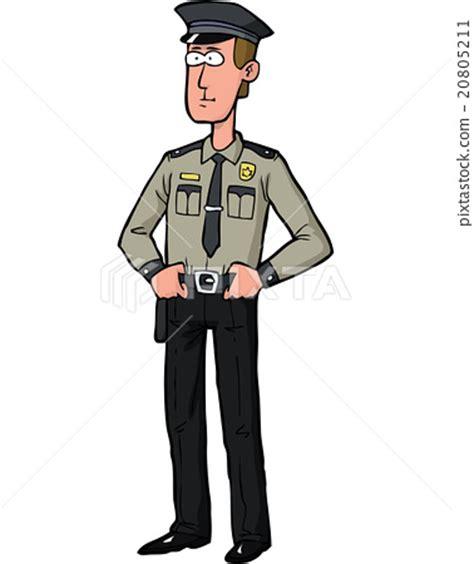 cartoon security guard stock illustration  pixta