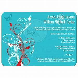 wedding invitation turquoise red white floral butterflies With wedding invitation designs aqua blue