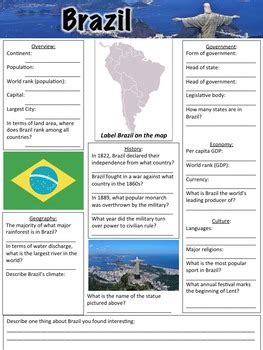 brazil worksheet  middle school history  geography tpt