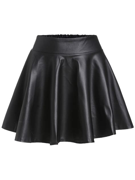 Black Faux Leather Elastic Waist Flare SkirtFor Women-romwe