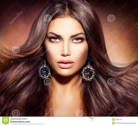 Beautiful Brown Hair by With Blowing Hair Stock Image Image Of