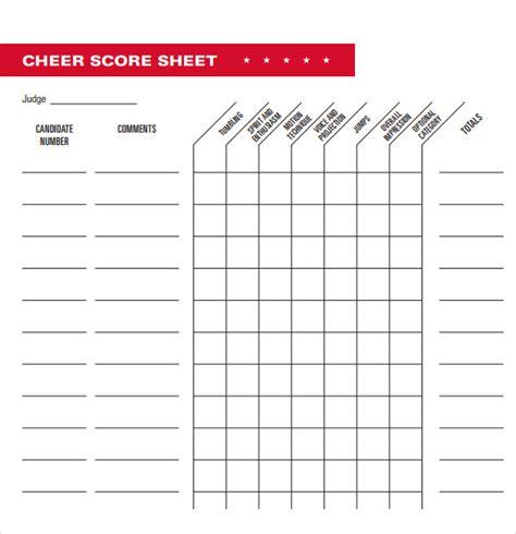11 Cheerleading Tryout Score Sheet Salary Format 11 Cheerleading Tryout Score Sheet Salary Format