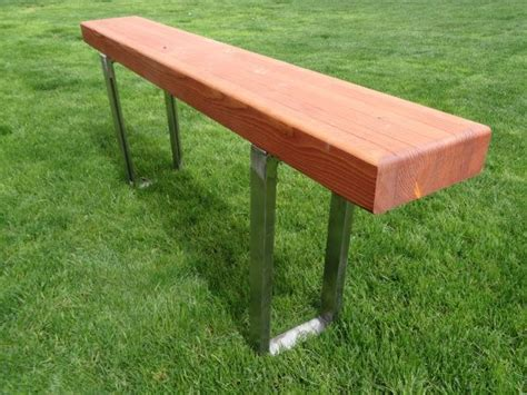 contemporary glulam beam bench   steel support