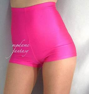 y Neon Pink High Waisted Shiny Spandex Shorts Hot