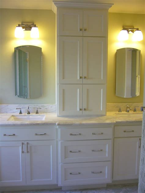 Bathroom Vanity With Center Tower by Bath Details By Pamdesigns On Traditional