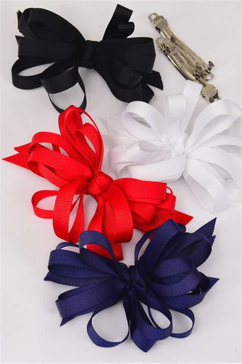 Hair Bow Loop Bow Red White Black Navy Mix Grosgrain