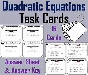 Quadratic Equations Card Activity By