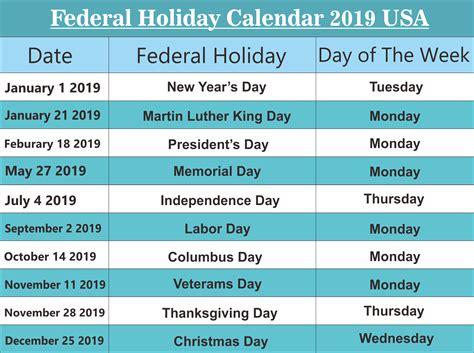 Free Usa (united States Of America) Federal Holidays 2019