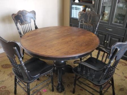 black distressed table and chairs oak table and chairs updated in black basement pinterest