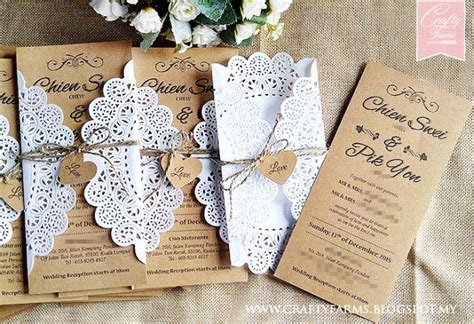 Doily Inspired Brown Rustic Wedding Cards for garden