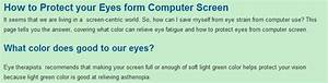 How To Protect Your Eyes Form Computer Screen