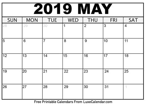 Blank May 2019 Printable Calendar